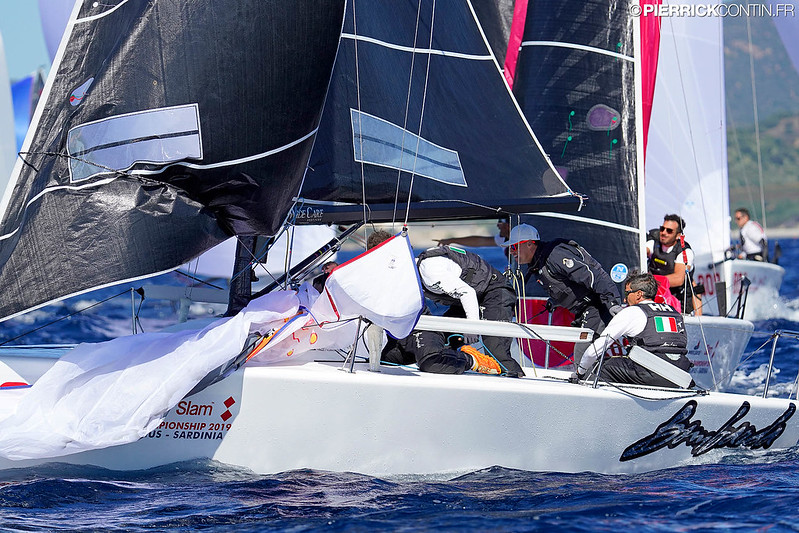 Bombarda ITA860 by Andrea Pozzi, with partial scores of 5-6-2, earns the top of the provisional ranking on Day One of the Melges 24 Worlds 2019. Photo © Pierrick Contin/IM24CA
