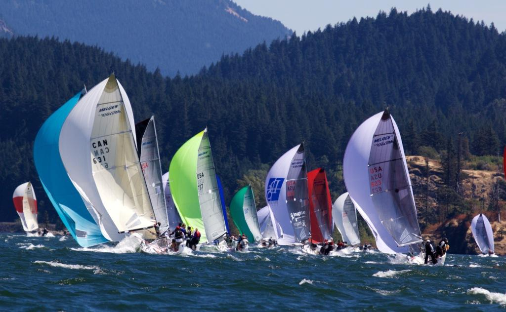 MELGES24's blazing  the upstream treadmill on the Columbia River