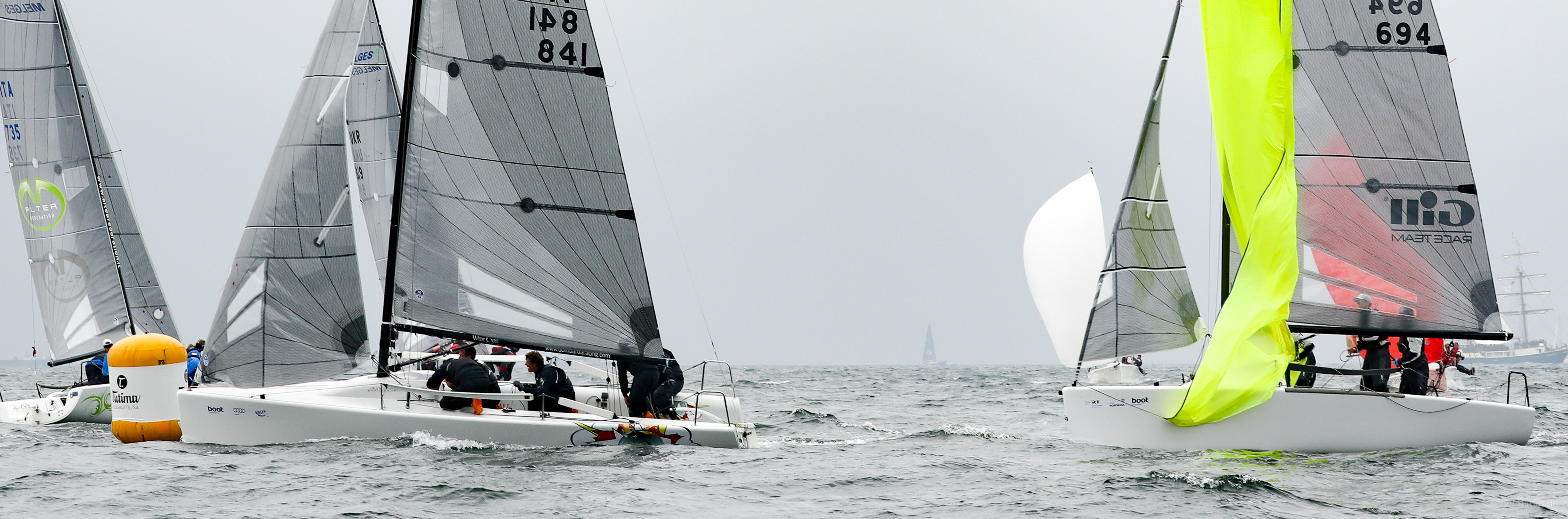 Andrea Pozzi's Bombarda ITA841 and Miles Quinton's Gill Race Team at Kiel Week 2
