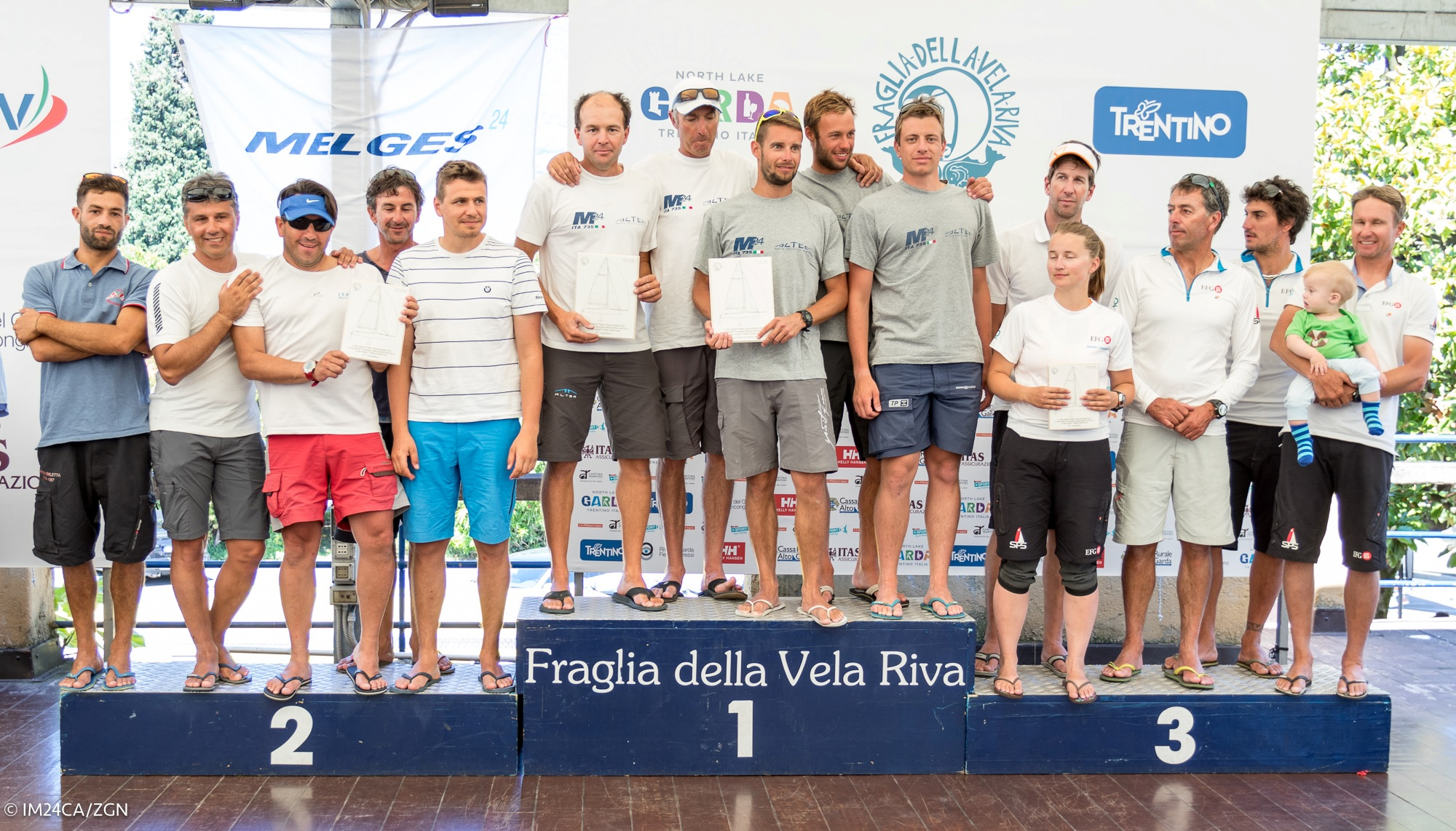 The winners of the Melges 24 European Sailing Series 4th event in Riva del Garda