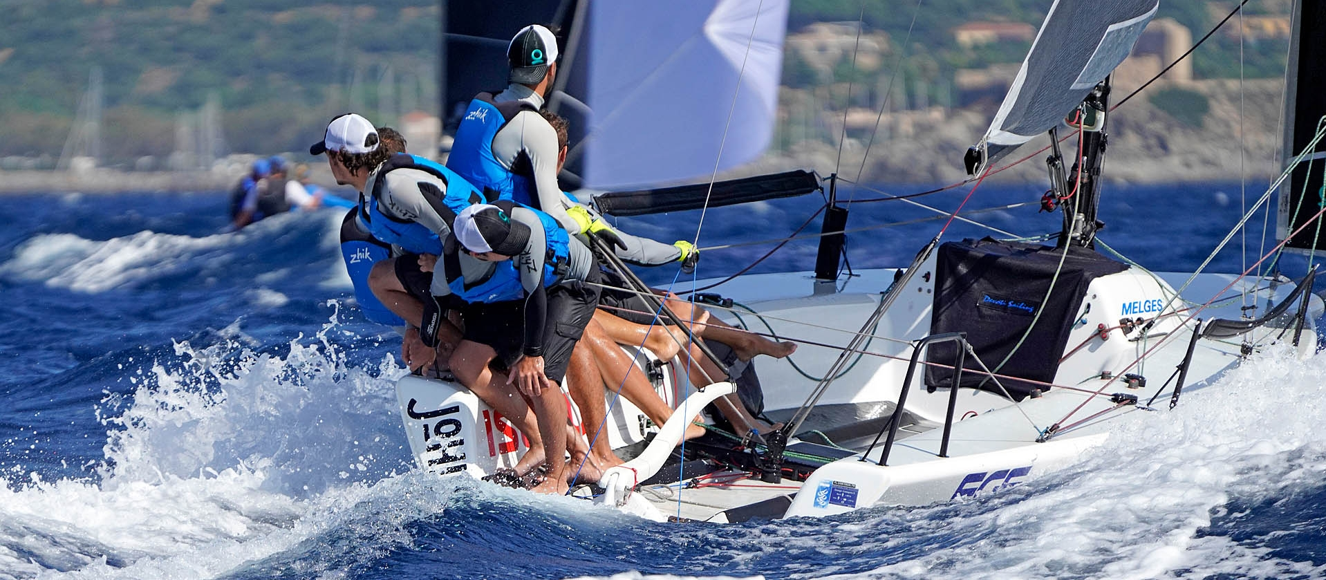 FGF Team HUN728 of Robert Bakoczy at the 2019 Melges 24 World Championship in Villasimius, Sardinia, Italy